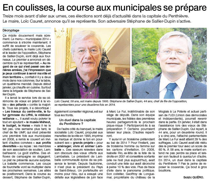 Ouest-France le 19 février 2013