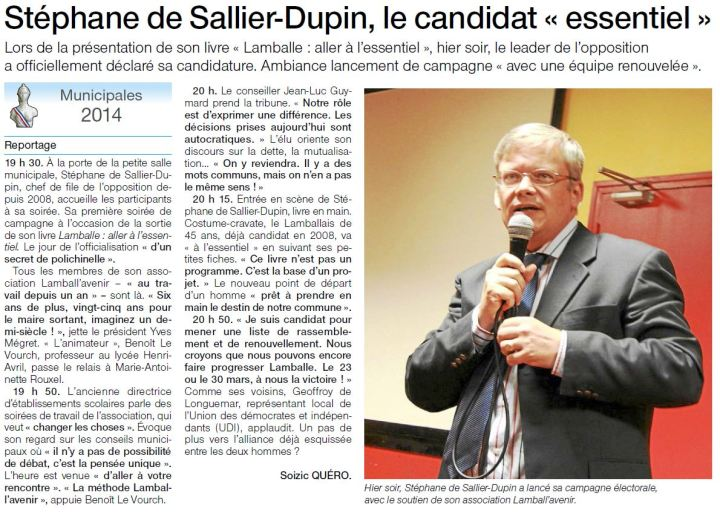 Ouest-France le 22 octobre 2013