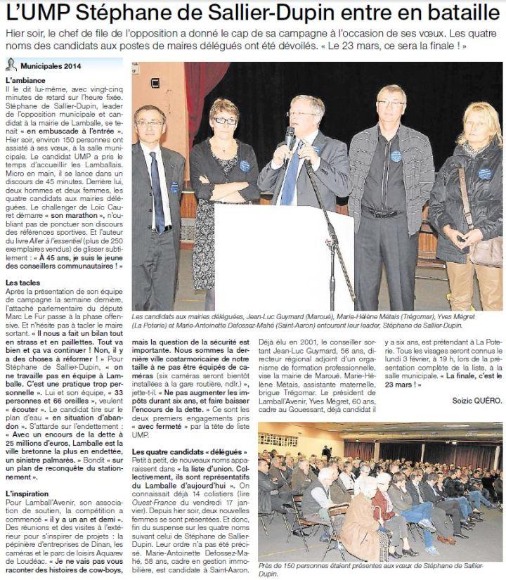 Ouest-France le 23 janvier 2014