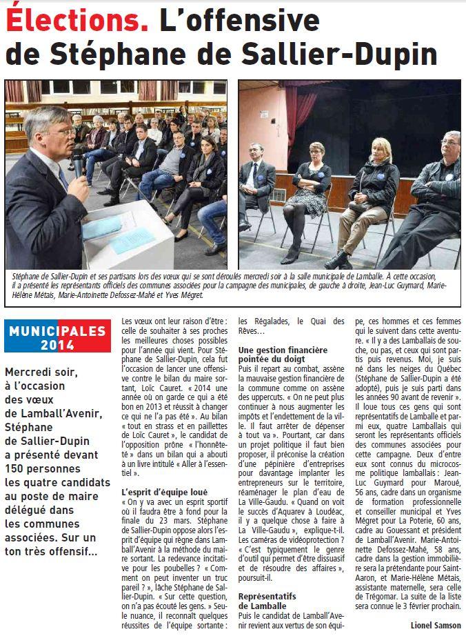 Le Télégramme - 24 janvier 2014