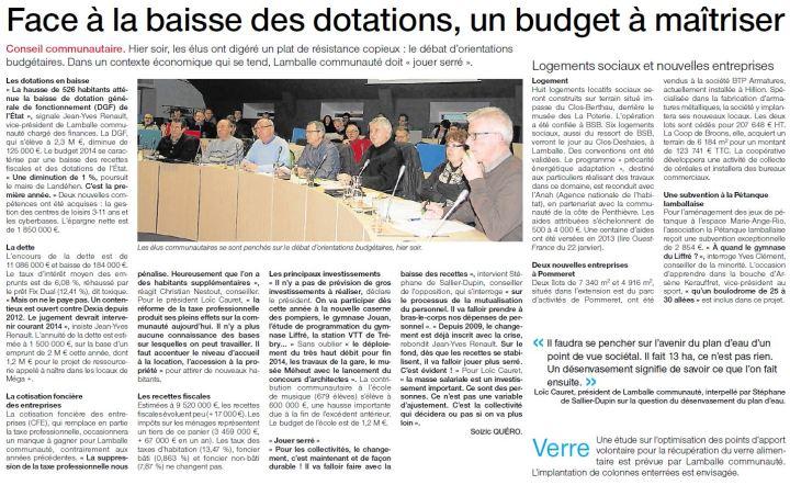 Ouest-France - 31 janvier 2014