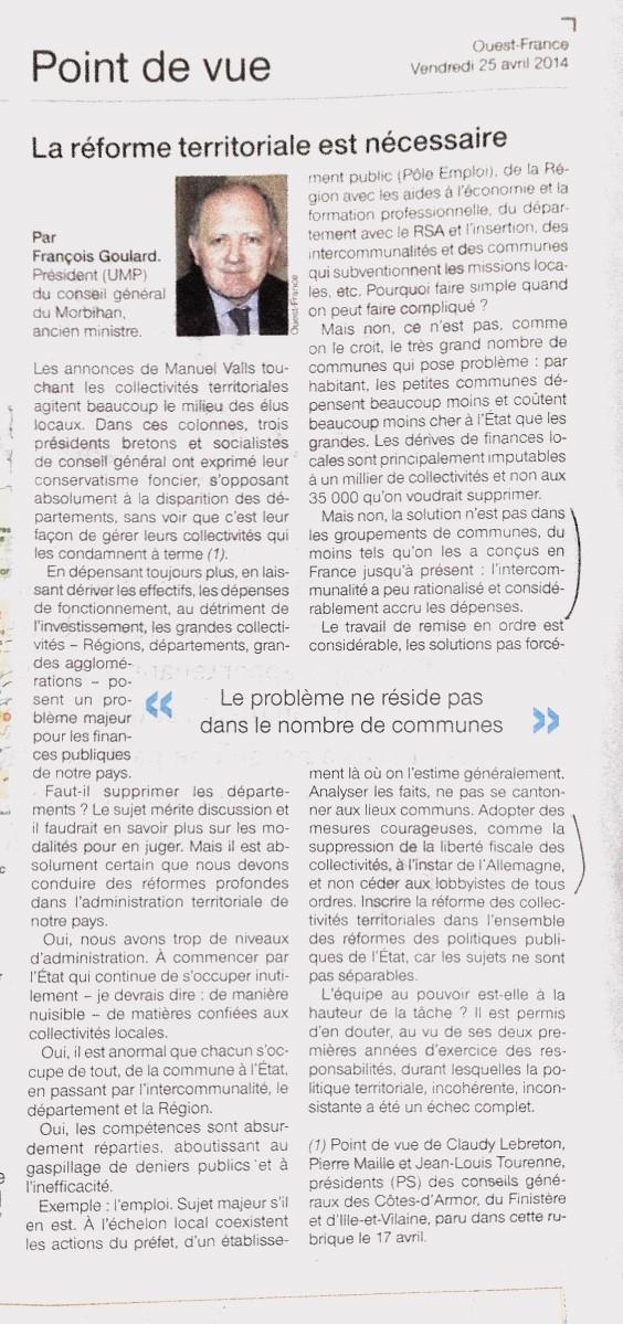 Tribune de François Goulard le 25 avril 2014
